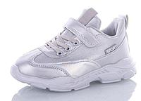 Кроссовки детские, спортивная обувь, для девочки, детская обувь, серебро, белые кроссовки