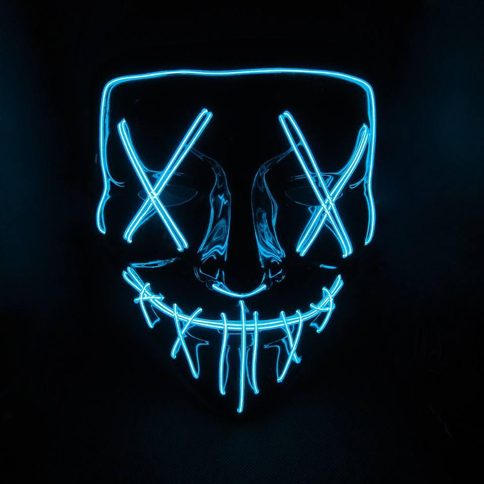 Неоновая маска судная ночь SoFun LED светящаяся синяя