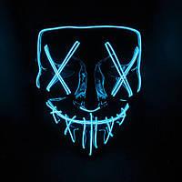 """Неоновая маска """"судная ночь"""" LED светящаяся (синяя), фото 1"""