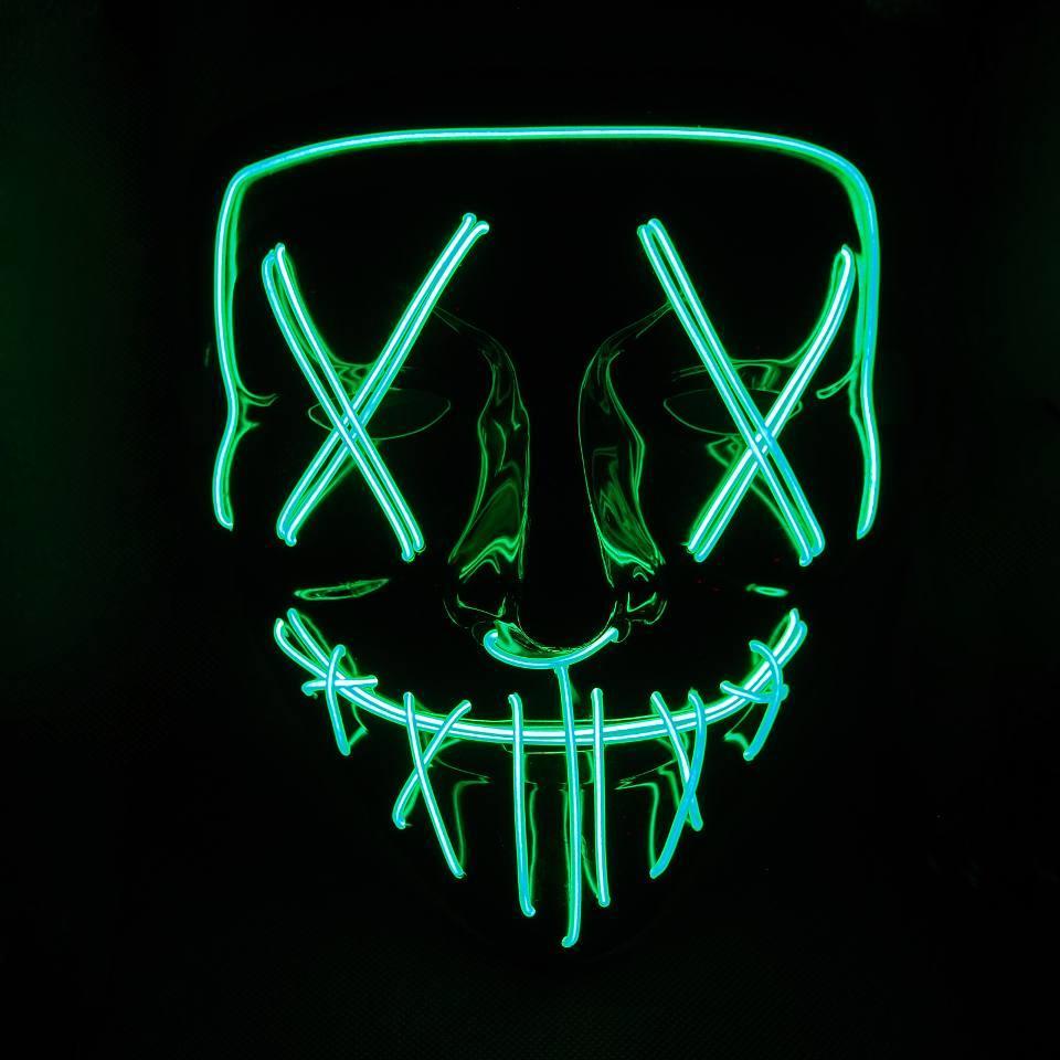 Неоновая маска судная ночь SoFun LED светящаяся зеленая