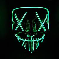 Неоновая маска судная ночь SoFun LED светящаяся зеленая, фото 1
