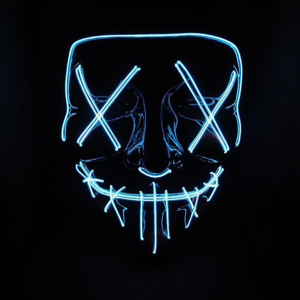 """Неоновая маска """"судная ночь"""" LED светящаяся (белая)"""