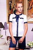 Блуза Белая с Синим Бантом Короткий Рукав S-XL