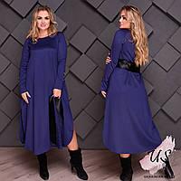 Женское однотонное батальное платье с кожаным поясом. 4 цвета!