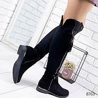 Ботфорты сапоги женские Zippers черные 8763