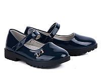 Туфли, босоножки, синие, демисезон, обувь в школу, для девочки, класическая детская обувь,золото
