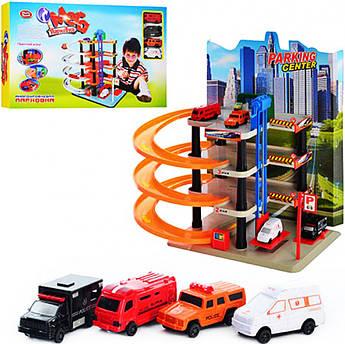 Игрушечная Мега парковка с лифтом, гараж + 4 разные машинки 0848
