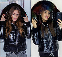 Лаковая куртка с мехом на капюшоне 20368, фото 1