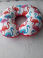 """Дорожна подушка """" Фламінго 5"""" +маска для сну в подарунок"""