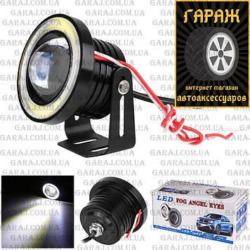 Противотуманные LED фары с ангельскими глазками 76mm 10W 1200lm R500