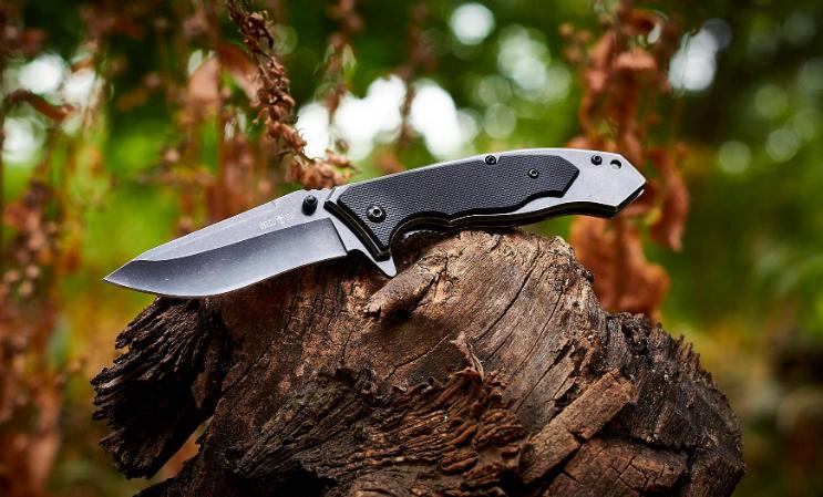 Нож складной, с рукояткой из металла и композита G10 c продуманной насечкой, компактный, многозадачный