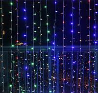 Новогодняя гирлянда штора 2 на 2 метра. 200 led. Разноцветные огни, фото 1