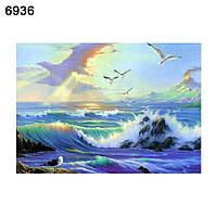 Алмазная мозайка Океан і чайки 25х35 см