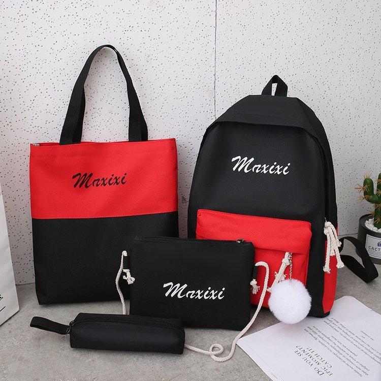 Рюкзак черный с красным с сумочкой и пеналом в комплекте