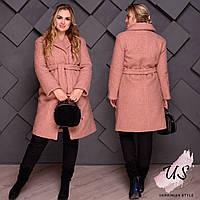 Женское батальное  пальто на кнопках с поясом. 3 цвета!