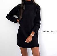 Теплое платье на зиму черного цвета