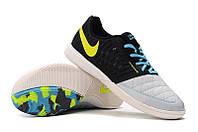 Футзалки (бампы) Nike Lunar Gato II IC Black/Volt/Wolf Grey/Current Blue, фото 1