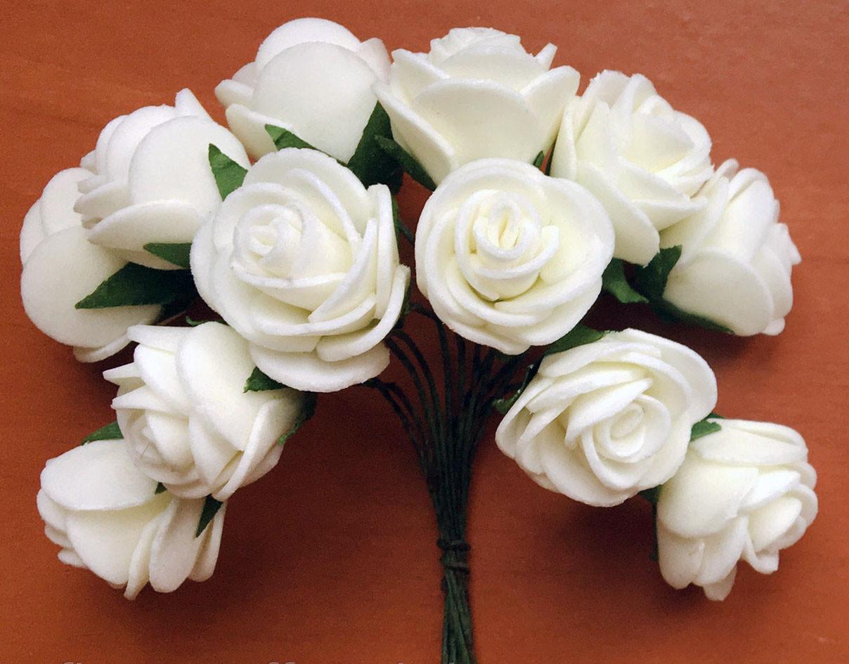 Троянди з латексу білі 2,5 см 12 шт