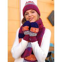 Шапка женская с шарфом и перчатками 7730 (Фабричный Китай)