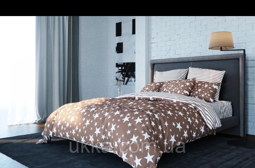 Двуспальное постельное белье ТЕП Ранфорс STAR BROWN