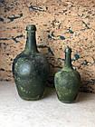 Ваза бутылка для цветов винтажная декоративная стеклянная зелёная маленькая, фото 2