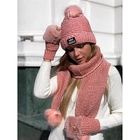 Шапка женская с шарфом и перчатками 7732 (Фабричный Китай)
