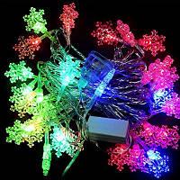 Светодиодная гирлянда Снежинки, 28 led лампочек, длина 4,5 м, фото 1