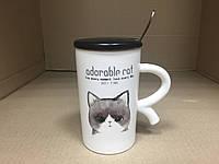 """Чашка с крышкой и ложкой """"Кисонька"""", фото 1"""