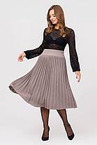 Женская вязаная юбка плиссе-миди Размер oversize 44-48, фото 3