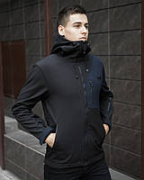 """Стильная молодежная мужская куртка Soft Shell """"Борис"""" не промокаемая черная с синим - S, M, L"""