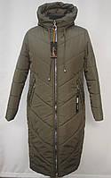 Стильная зимняя  удлиненная куртка -пальто Большие размеры 50р, 52р, 54р, 56р, 58р оливка
