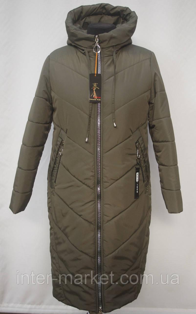 Стильная зимняя  удлиненная куртка -пальто Большие размеры 50р, 52р, 54р, 56р, 58р оливка, фото 1
