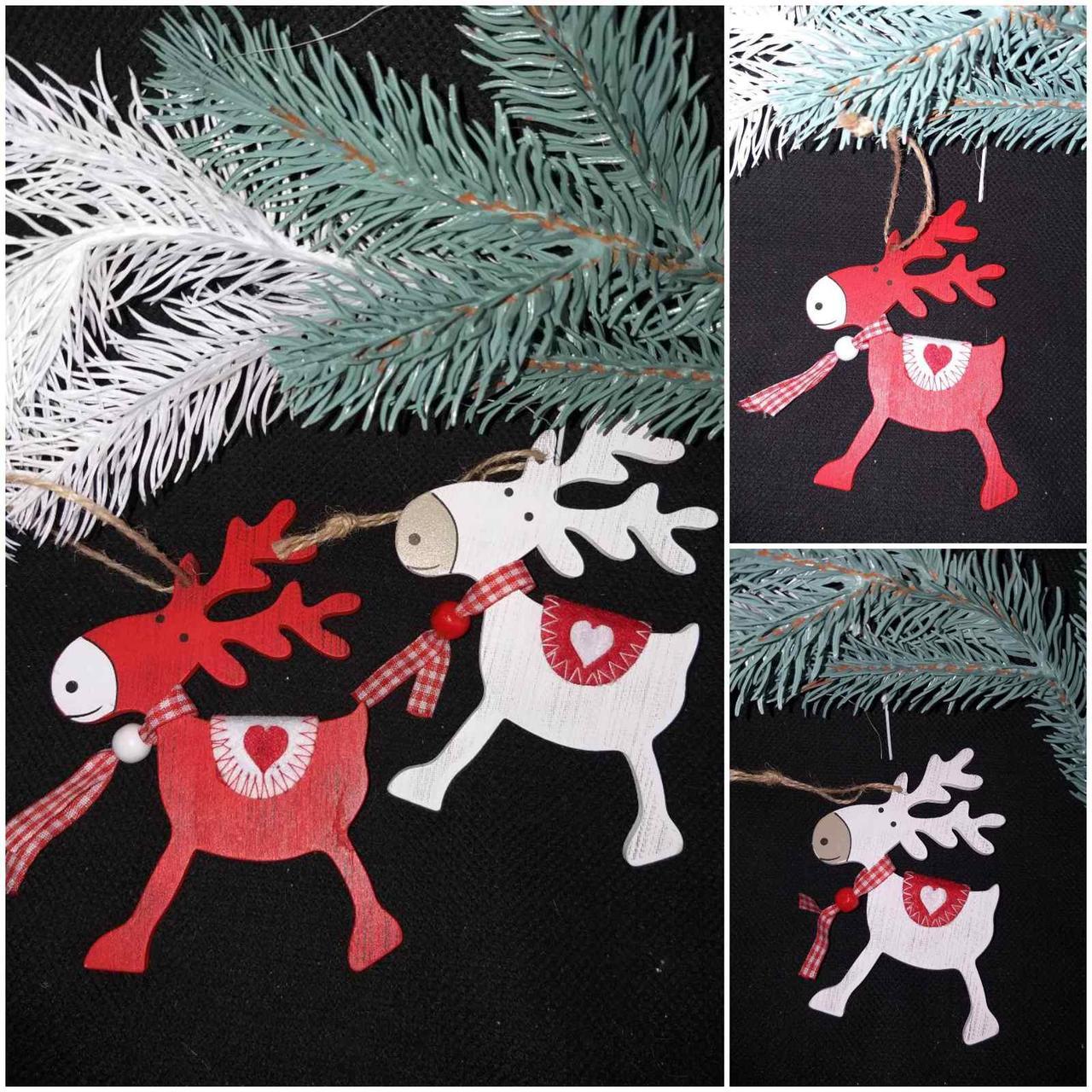 """Подвеска новогодняя """"Олень с седлом"""", дерево, выс. около 12.5 см., 35/25 (цена за 1 шт. + 10 гр.)"""