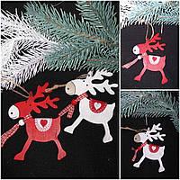 """Подвеска новогодняя """"Олень с седлом"""", дерево, выс. около 12.5 см., 35/25 (цена за 1 шт. + 10 гр.), фото 1"""