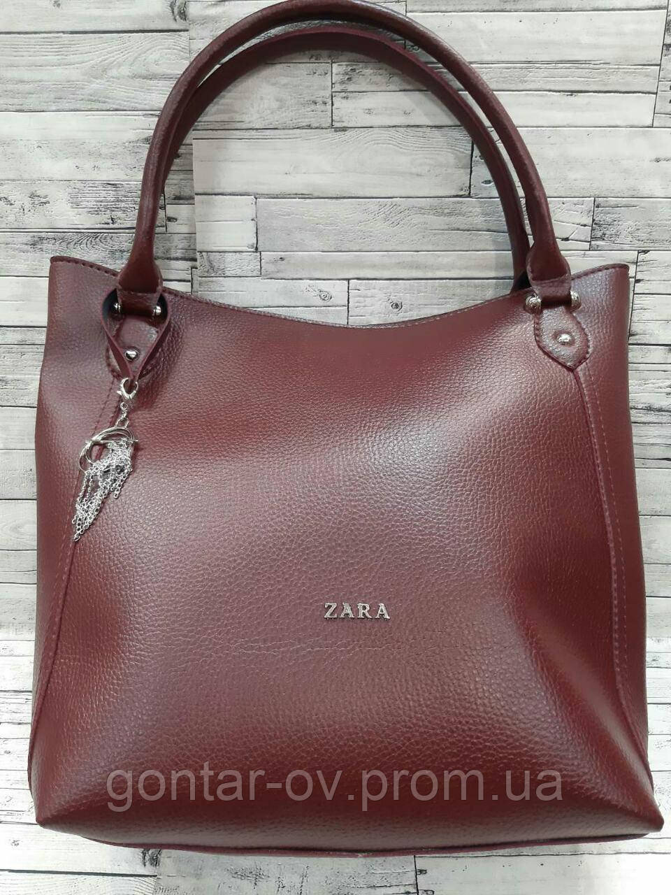 Женская бордовая сумка Zara (Зара)