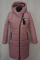 Хит!!! Стеганная зимняя  удлиненная куртка -пальто Большие размеры 50р, 52р, 54р, 56р  розовый