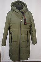 Супер качество!!! Стеганная зимняя  удлиненная куртка -пальто Большие размеры 50р, 52р, 54р, 56р  оливка