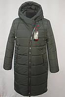 Супер качество!!! Стеганная зимняя  удлиненная куртка -пальто Большие размеры 50р, 52р, 54р, 56р  зеленый