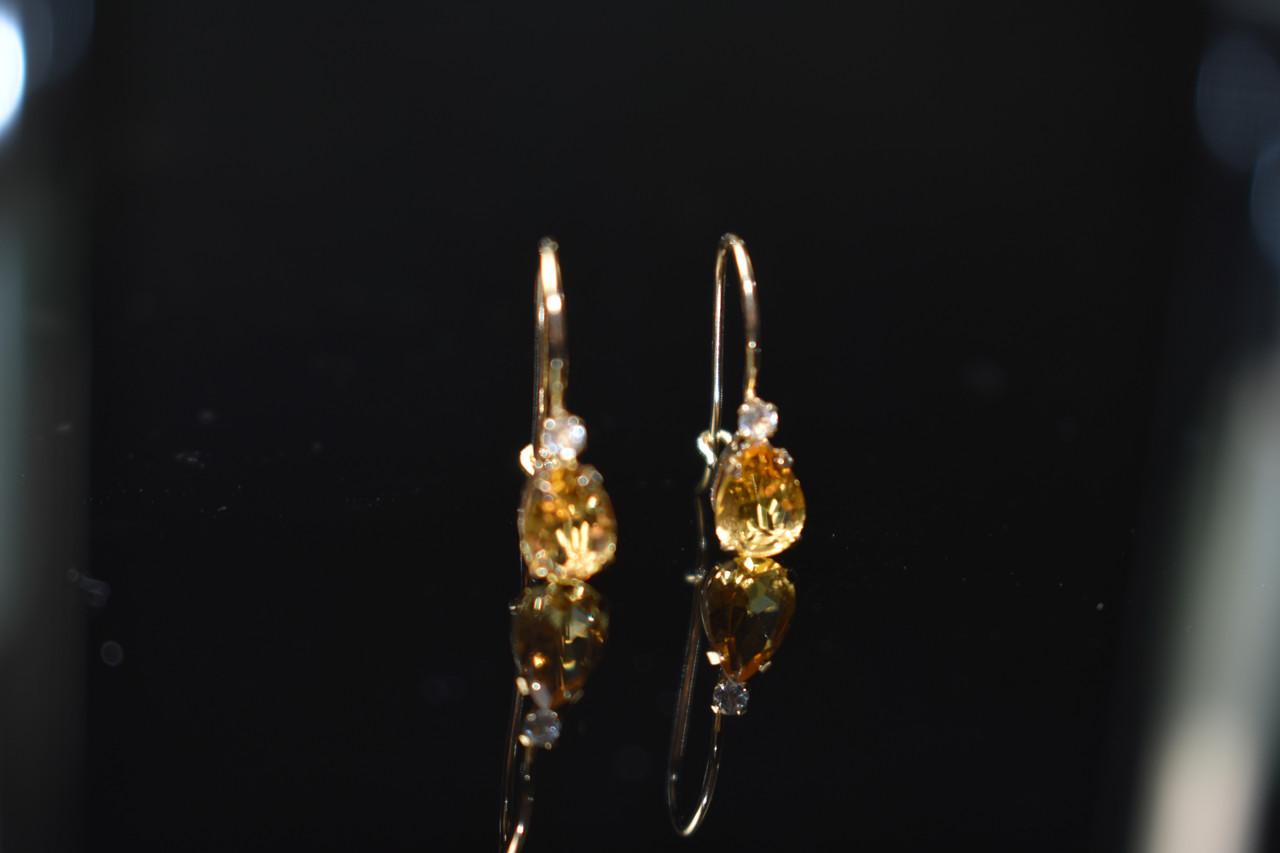 Золотые серьги с камнем  Гелиодор и Бриллиант  10К (417 проба)
