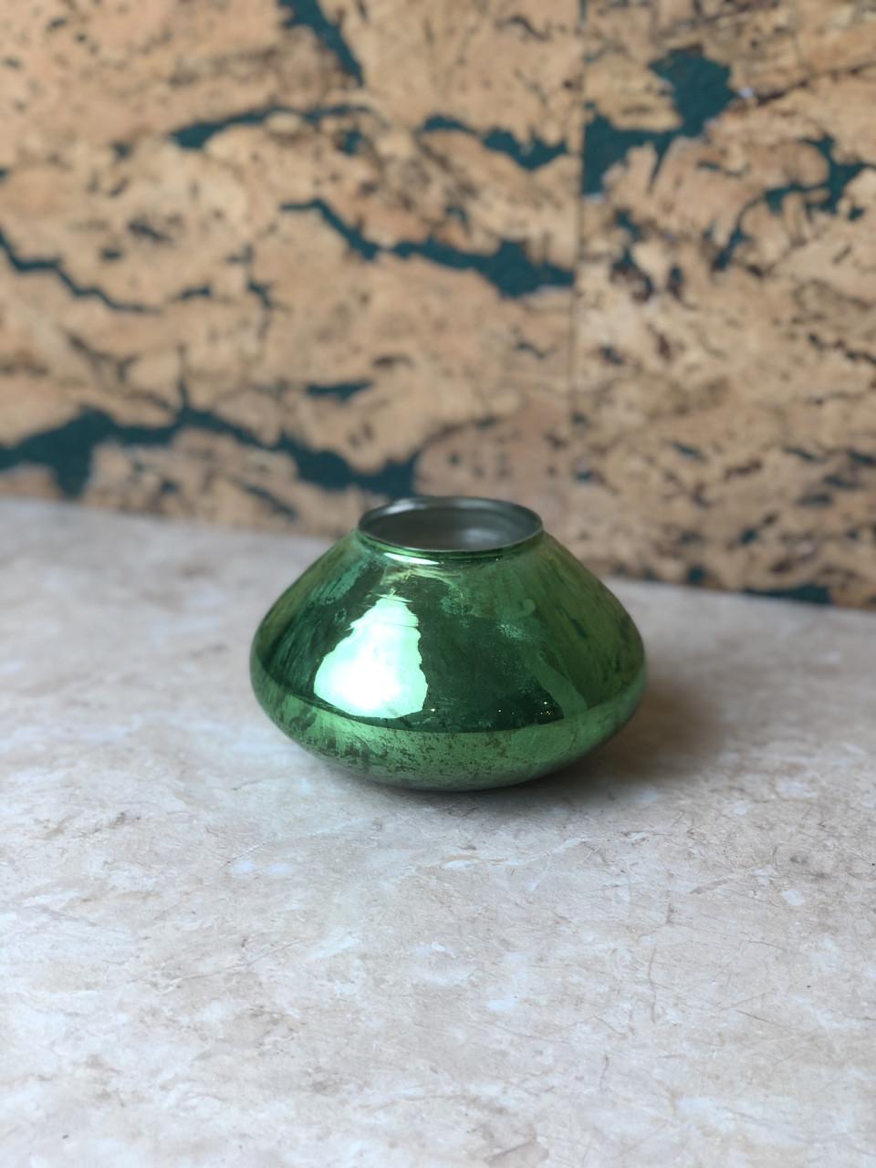 Ваза для квітів декоративна зелена маленька кругла