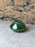 Ваза для цветов декоративная зелёная маленькая круглая