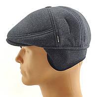 Реглан мужские кепки остался 59 размер зимняя утепленная теплая с ушами серая кепка