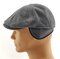 Хулиганка мужские кепки восьмиклинка зимняя утепленная с ушами теплая остался 57 58 59 60 размер серая