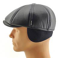 Хулиганка мужские кепки восьмиклинка зимняя утепленная с ушами теплая остался 58 59 размер черная