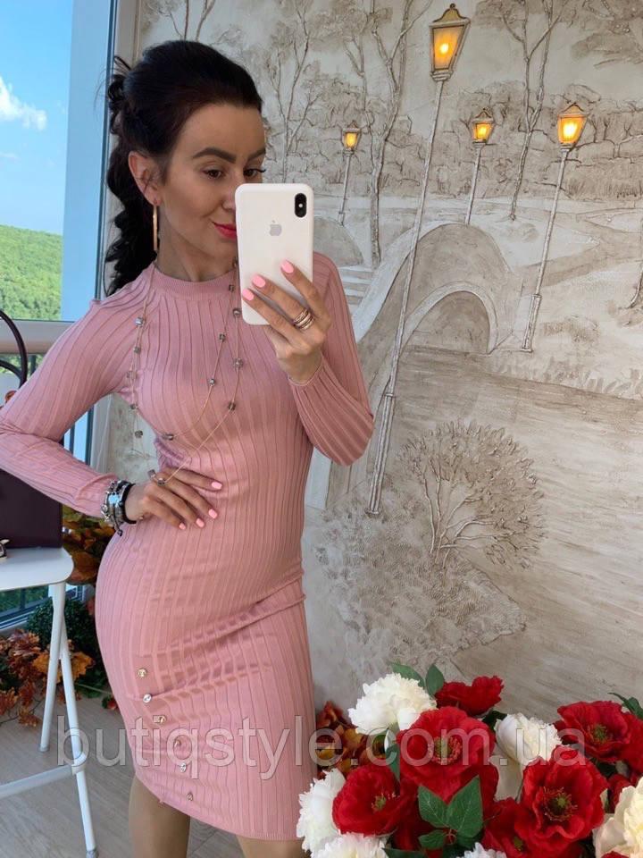 Жіночне облягаючу сукню міді трикотаж тільки рожеве