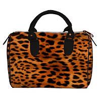 Сумка-бочонок женская леопардовая
