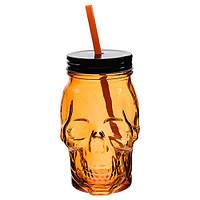 Джар стакан з соломинкой Череп, оранжевый