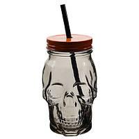 Джар стакан з соломинкой Череп черный