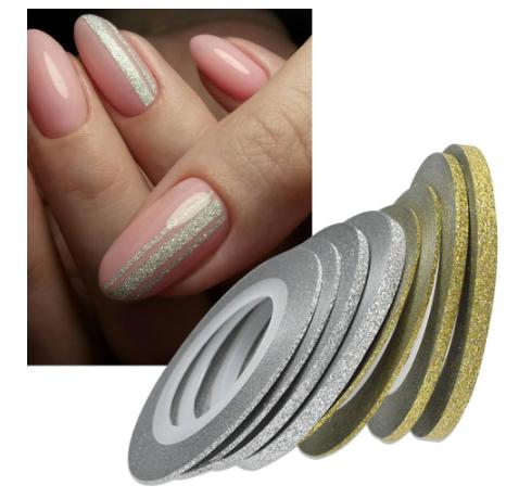 Гибкая сахарная лента для ногтей (маникюра) 2мм золото