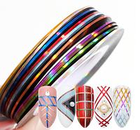 Гибкая голографическая лента для ногтей (маникюра) 1мм, Набор 10 цветов
